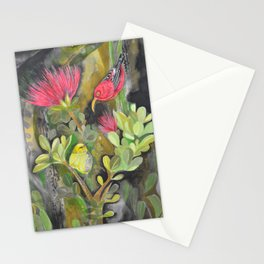 'Iwi'i and Maui 'Alauhio in Red Ohia Lehua Tree Stationery Cards