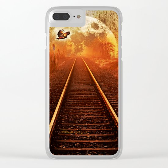 Railway to the moon Clear iPhone Case