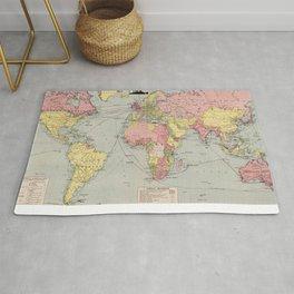 Vintage World Mail Correspondence Map (1917) Rug