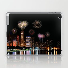 Chicago night skyline with fireworks. Laptop & iPad Skin