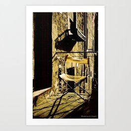 Too Hot! ~ Tattered Director's Chair on Italian Balcony Art Print