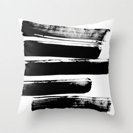 Stripes Black & White Minimalist Abstract Mid century Ink Art Dark Brush Strokes Throw Pillow