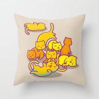 cats Throw Pillows featuring cats ! by parisian samurai studio