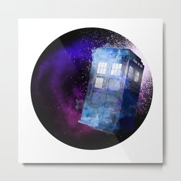 Watercolor Tardis Metal Print