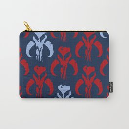Mythosaur Skulls in Red and Light Blue on Navy Carry-All Pouch