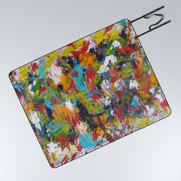 """The Abstract Mediterranean"" Acrylic Painting by Noora Elkoussy Picnic Blanket"