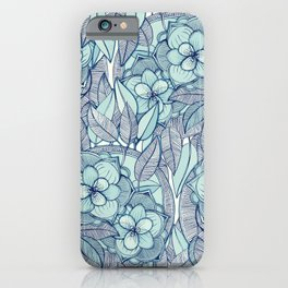 Teal Magnolias - a hand drawn pattern iPhone Case