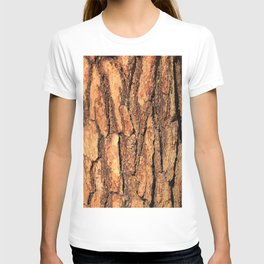 Bark texture wood large rough red wood outside T-shirt