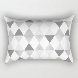GRAPHIC PATTERN Funky geometric triangles | lightgrey & silver Rectangular Pillow