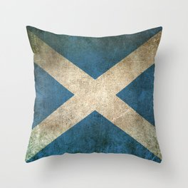 Old and Worn Distressed Vintage Flag of Scotland Throw Pillow
