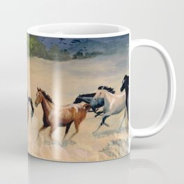 Horses Galloping Through Aspen Meadow Coffee Mug