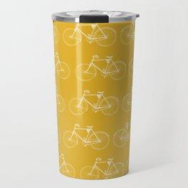 Saffron-Yellow Vintage Bicycle Pattern Travel Mug