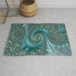 Feathery Flow Aqua - Fractal Art  Rug