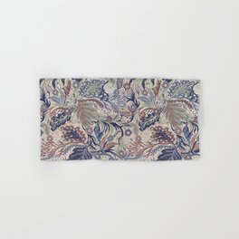 Muted Colors Flower Field, Soft Moss Green Leaves &  Intricate Petrol Blue Floral Blooms Pattern Hand & Bath Towel