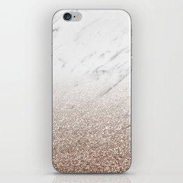 Glitter ombre - white marble & rose gold glitter iPhone Skin