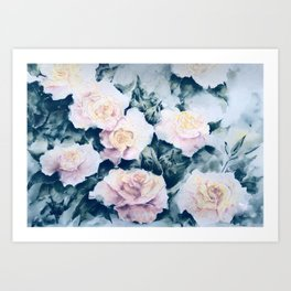 Retro dreamy Roses Art Print