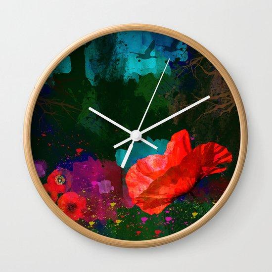 Poppies Summer Wall Clock