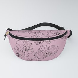 Retro . Orchid flowers on a pink background . Fanny Pack
