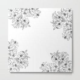 Floral Black & White Metal Print