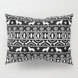 Bernese Mountain Dog fair isle christmas black and white pattern holiday dog breed gifts Pillow Sham