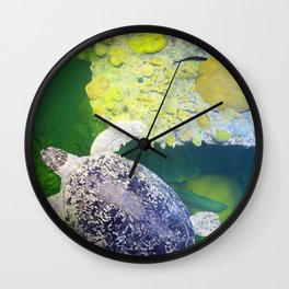 Sea Turtle on Lime Green Wall Clock