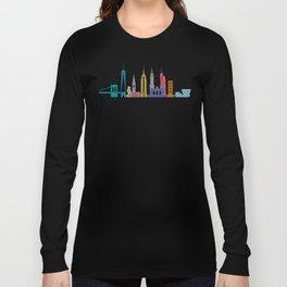 New York Skyline White Long Sleeve T-shirt