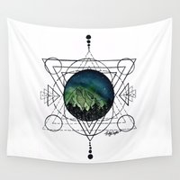 northern lights Wall Tapestries featuring Northern Lights by HaleySayersArt