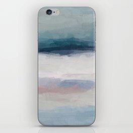 Dark Teal Blue, White, Pink, Light Blue Modern Wall Art, Ocean Waves Diptych Nursery Beach Decor Art iPhone Skin