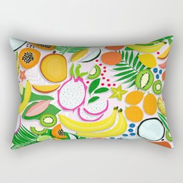 Fresh Fruits and Palms / Colorful Foods and Leaves Rectangular Pillow