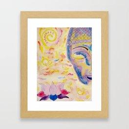 Half buddha face and lotus flower Framed Art Print