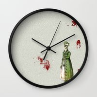 pride and prejudice Wall Clocks featuring Pride & Prejudice - Zombified by Studio Fibonacci
