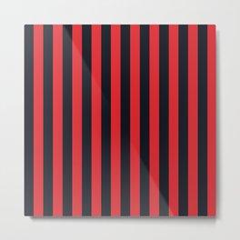 Vertical Stripes Black & Red Metal Print