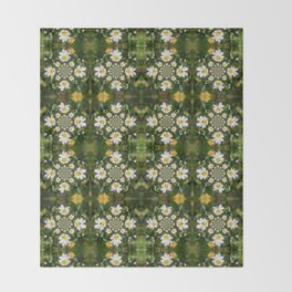 Magic Field Summer Grass - Chamomile Flower with Bug - Polarity #1 Throw Blanket