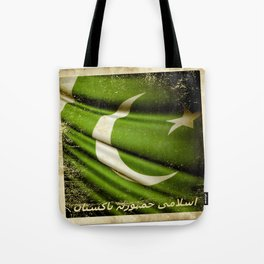 Islamic Republic of Pakistan grunge sticker flag Tote Bag