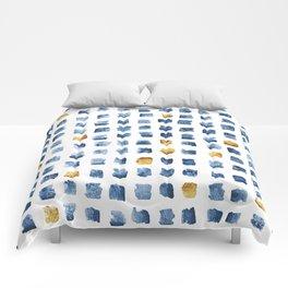 Watercolor Indigo Gold Geometrical Squares Pattern Comforters