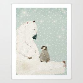 penguin and bear Art Print