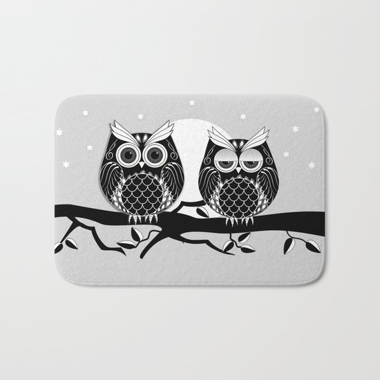 Graphic vector owl on branch in B&W Bath Mat