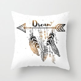 Beautiful Arrow With Feather Throw Pillow