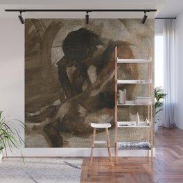 Figure Gesture Painting Sketch of Nude Female Woman in Brown  Wall Mural