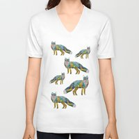 foxes V-neck T-shirts featuring Foxes by nessieness