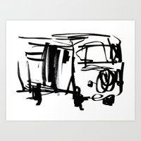 vw bus Art Prints featuring vw bus by character undefined