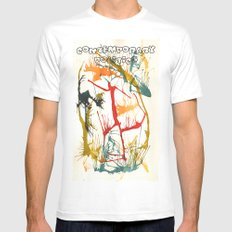 Contemporary Politics White MEDIUM Mens Fitted Tee