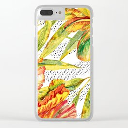 Tropical Watercolor Flowers Clear iPhone Case