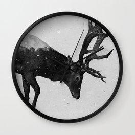 Red Deer (B&W) Wall Clock