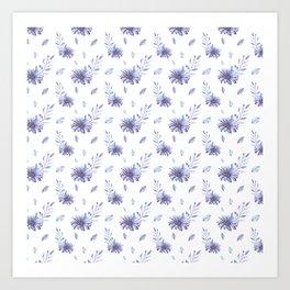 Lilac purple teal watercolor elegant  leaves daisies Art Print