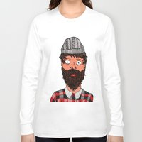 larry Long Sleeve T-shirts featuring Larry Lumberjack by ALFIE creative design