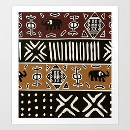 African mud cloth with elephants Art Print
