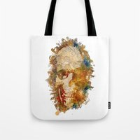 psychadelic Tote Bags featuring Psychadelic Skull by In Full Color