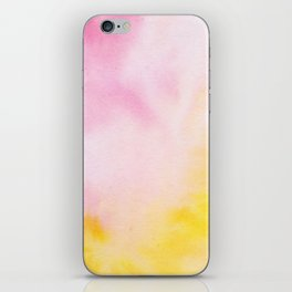 Yellow blush pink watercolor abstract brushstrokes pattern iPhone Skin