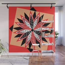 Floral red and black Wall Mural